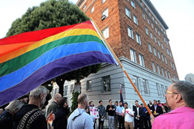 Community College Board Trustee Alex Randolph spoke at a<br>rally at the Russian Consulate in San Francisco denouncing the imprisonment and<br>murder of gays in Chechnya. Photo: Rick Gerharter