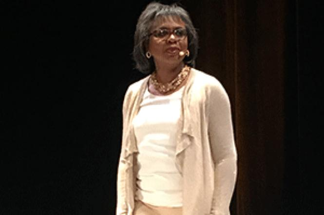 Anita Hill spoke about harassment and discrimination last<br>week in San Francisco. Photo: Sari Staver
