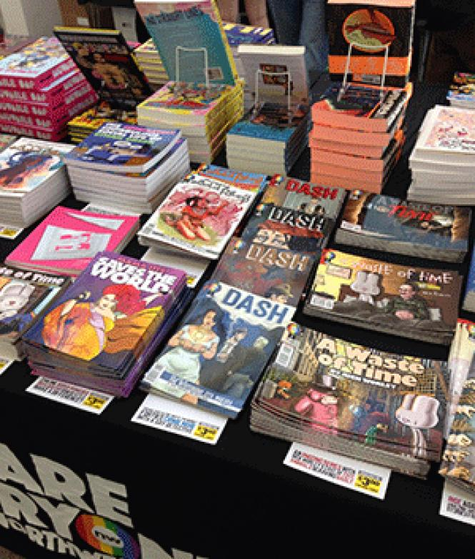 A wide variety of queer comics were for sale at the<br>recent Queers and Comics Conference held in San Francisco. Photo: Matthew S.<br>Bajko.
