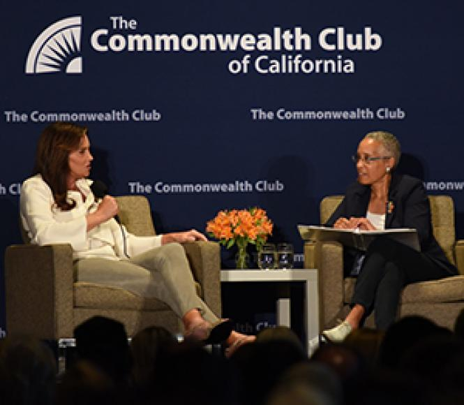 Caitlyn Jenner, left, answers a question posed by retired<br>Judge LaDoris Cordell. Photo: Steven Underhill