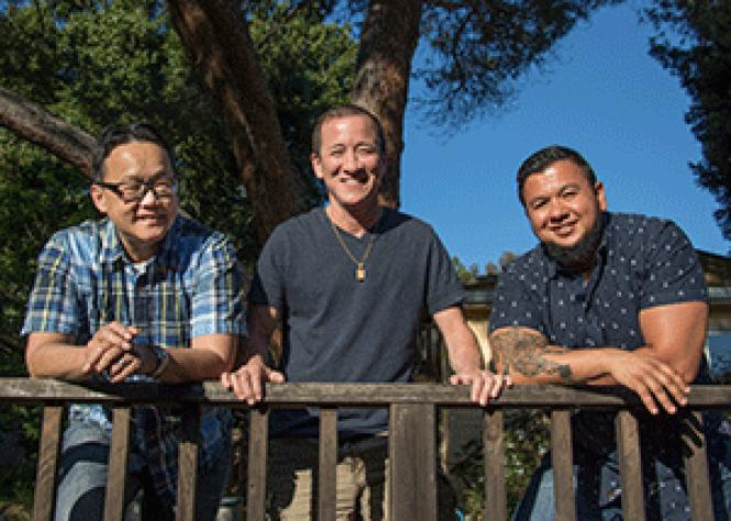 Chino Scott-Chung, left, Willy Wilkinson, and Jai DeLotto<br>are three of the organizers planning this summer&#039;s TransFusion retreat. Photo:<br>Pipi Ray Diamond