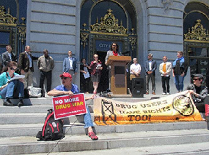 San Francisco Board of Supervisors President London Breed<br>spoke at a May 22 rally about supervised drug consumption spaces, where she<br>announced the formation of a task force to study the issue. Photo: Liz<br>Highleyman