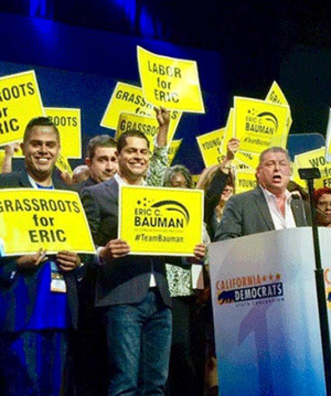 Eric Bauman delivered his speech at the California state<br>Democratic convention Saturday. Photo: Courtesy Facebook