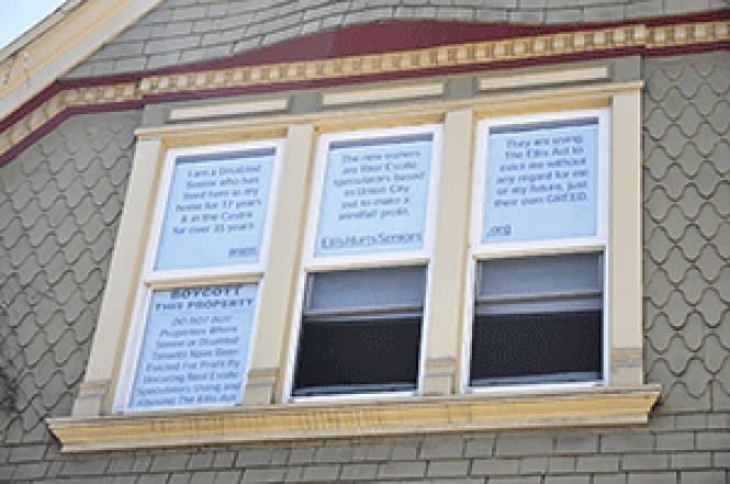 One tactic used by tenants threatened by eviction is to<br>visibly post details of their pending eviction in an effort to inform<br>prospective buyers. These signs, from a few years ago, were in a house in the<br>Castro district. Photo: Rick Gerharter