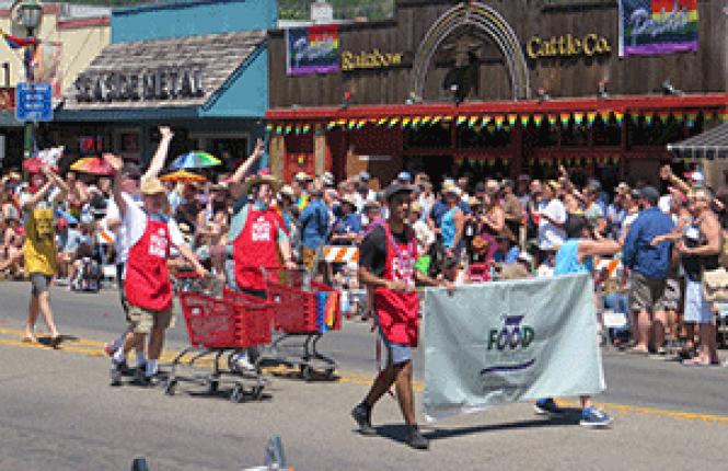 Supporters of Food for Thought (AIDS Food Bank of Sonoma<br>County) marched in the June 4 Sonoma County Pride parade. Photo: Charlie Wagner