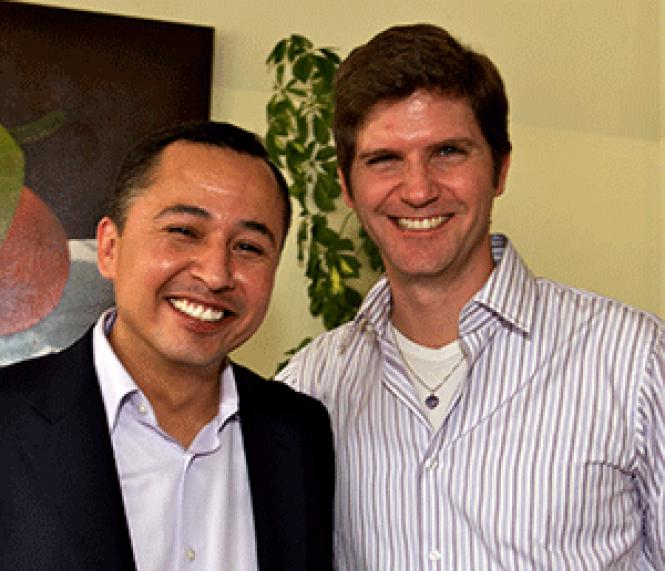 State Assembly candidate Luis Lopez, left, with his<br>partner, Hans Johnson. Photo: Jane Philomen Cleland