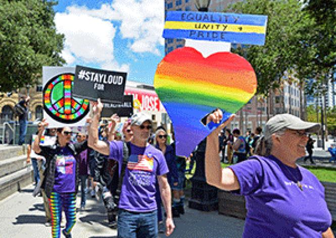 Participants walked in the San Jose Equality March for<br>Unity and Pride June 11. Photo: Jo-Lynn Otto