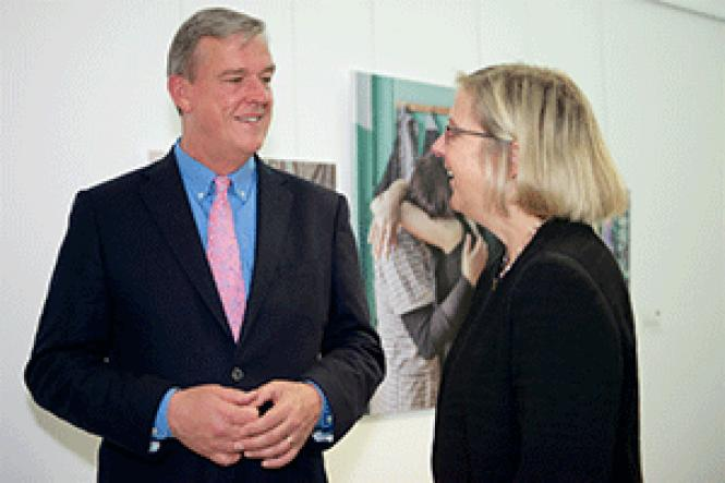 Supervisor Jeff Sheehy, left, talks with San Francisco<br>LGBT Community Center Executive Director Rebecca Rolfe after a news conference<br>announcing more funding for the center and other agencies. Photo: Jane Philomen<br>Cleland