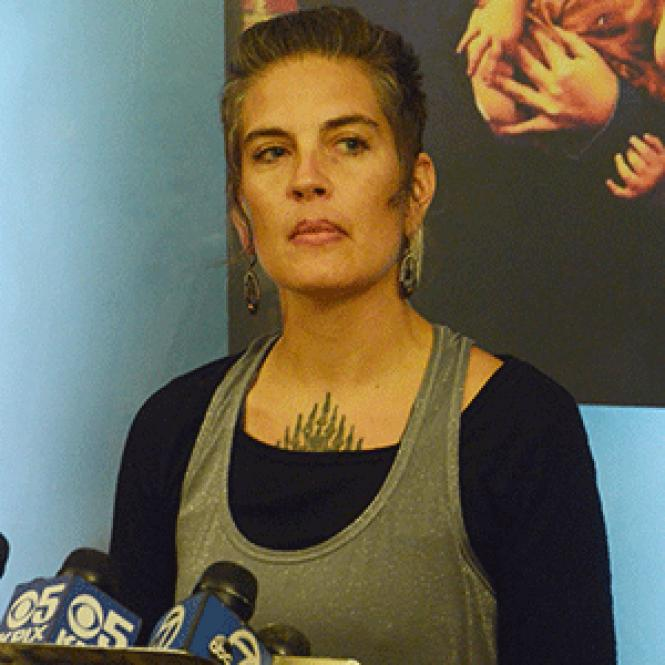Micah Allison, the wife of Ghost Ship defendant Derick<br>Almena, spoke at a news conference Friday, June 9. Photo: Rick Gerharter