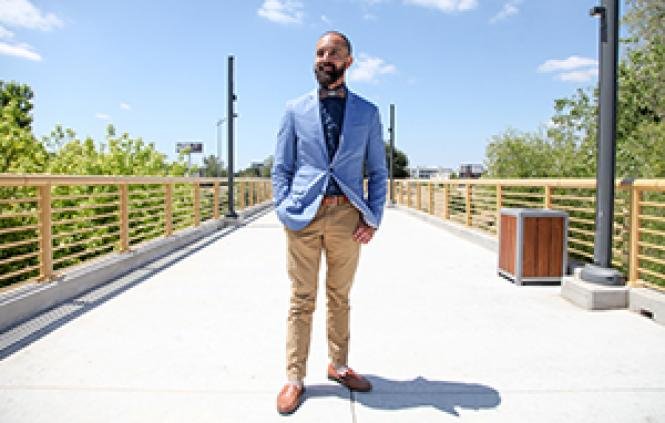 West Sacramento Mayor Christopher Cabaldon stands on the<br>Mill Street Pier. Photo: Kelly Sullivan
