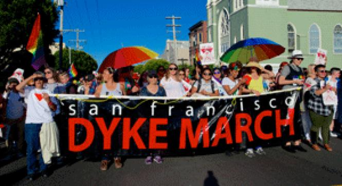 Dyke March participants carry the banner at last year&#039;s<br>event. Photo: Jane Philomen Cleland