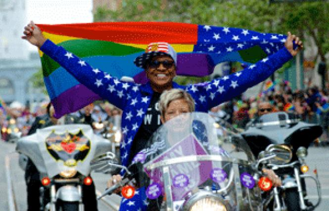 The San Francisco Dykes on Bikes Women&#039;s Motorcycle<br>Contingent had its own trademark issues and submitted a brief in support of the<br>Asian-American band, the Slants. Photo: Jane Philomen Cleland