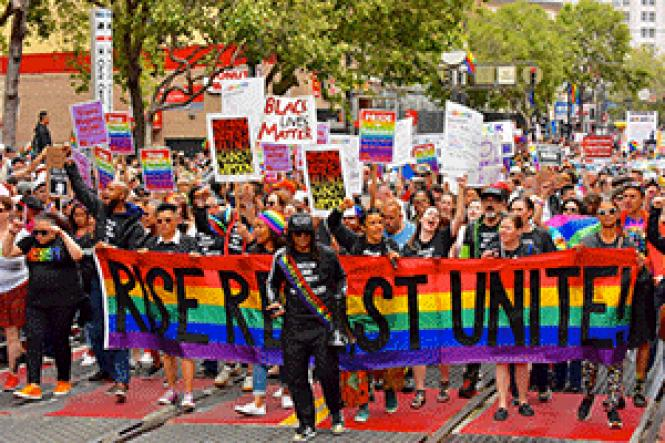 Community grand marshal Alex U. Inn leads the Resistance<br>contingent in Sunday&#039;s San Francisco Pride parade. Photo: Jane Philomen<br>Cleland<br><br>