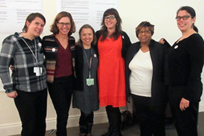 End Hep C SF steering committee members Katie Burk, left,<br>Dr. Annie Luetkemeyer, Dr. Kelly Eagen, Emalie Huriaux, Alfredta Nesbitt, and<br>Rachel McLean. Photo: Liz Highleyman