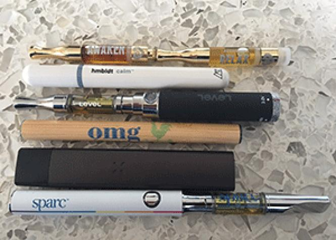 Available vape pens include, from top, Alchemy, hmbldt,<br>Level, OMG Farms, Pax, and SPARC. Photo: Sari Staver