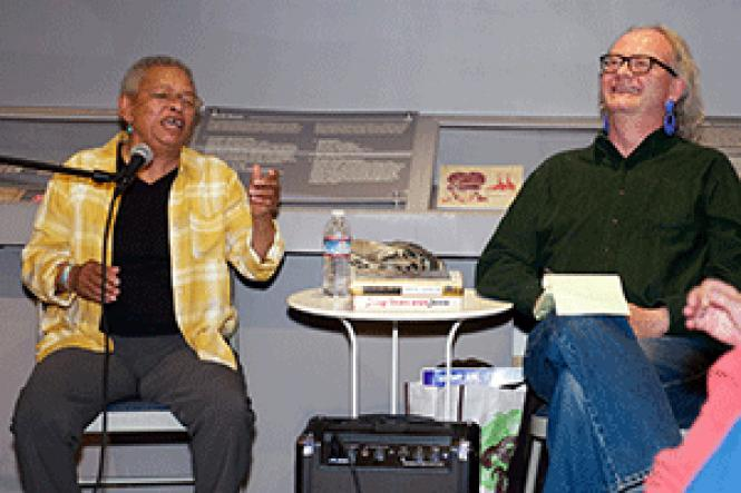 Jae Whitaker, left, laughs during her conversation with<br>Joey Cain about LGBT aspects of 1967&#039;s Summer of Love. Photo: Jane Philomen<br>Cleland