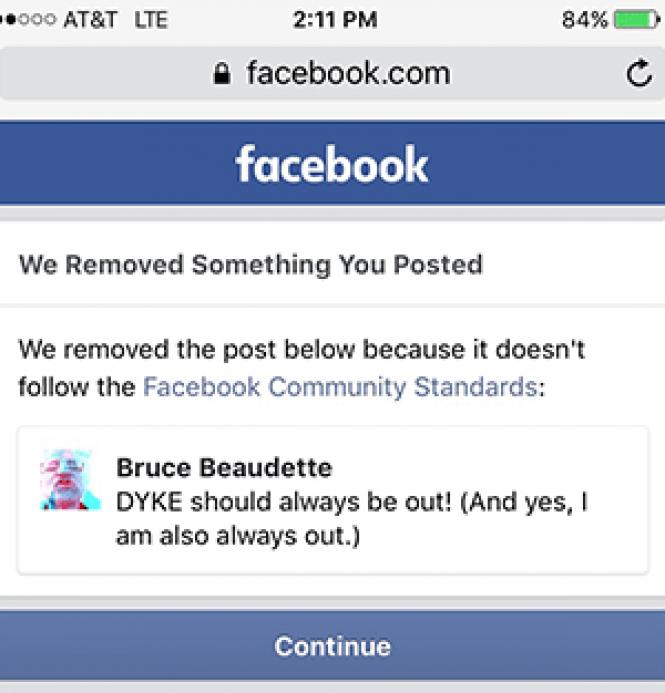 A screen grab from Bruce Beaudette&#039;s Facebook page shows<br>that his post was removed.