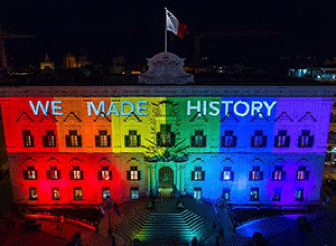 The Auberge de Castille, in Valletta, Malta was lit up in<br>the colors of the rainbow flag July 12, following passage of the same-sex<br>marriage bill. Photo: Courtesy Prime Minister&#039;s office