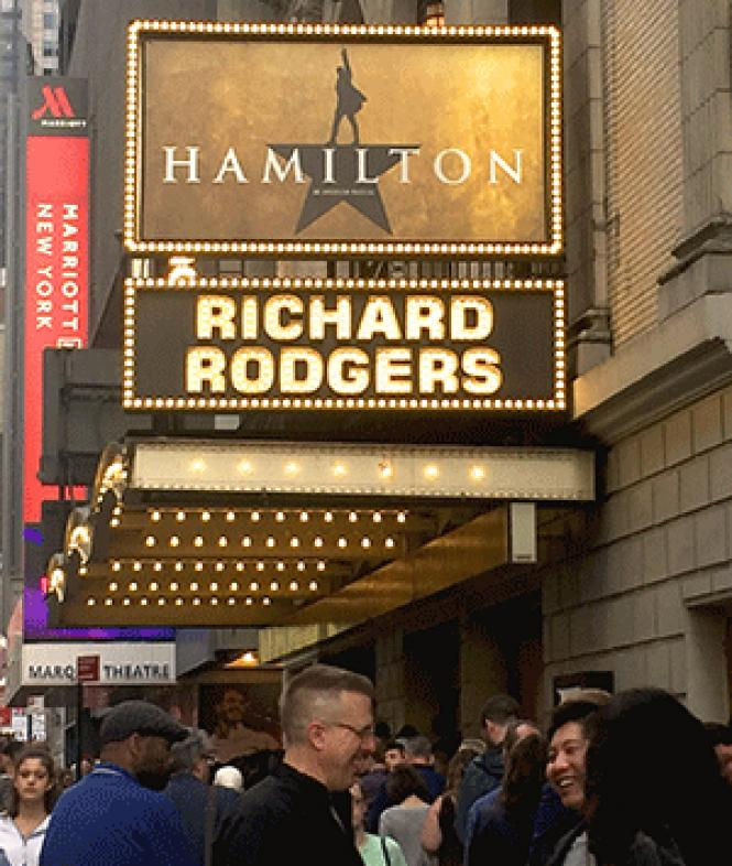 Theatergoers wait in line to see &quot;Hamilton&quot; at<br>the Richard Rodgers Theatre on Broadway. Photo: Heather Cassell