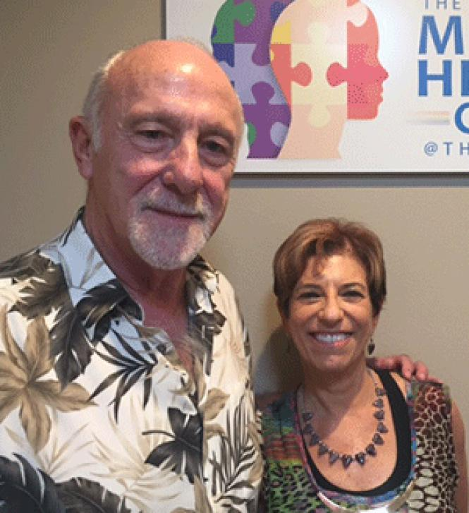 Bruce Hume, left, and Jill Gover, Ph.D. at the Palm<br>Springs LGBT center&#039;s health clinic.