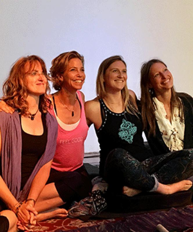 Cannabis entrepreneurs Jaene Leonard, left, Pamela<br>Hadfield, Rachel Dugas, and Dee Dussault relax at a recent pop-up party. Photo:<br>Sari Staver