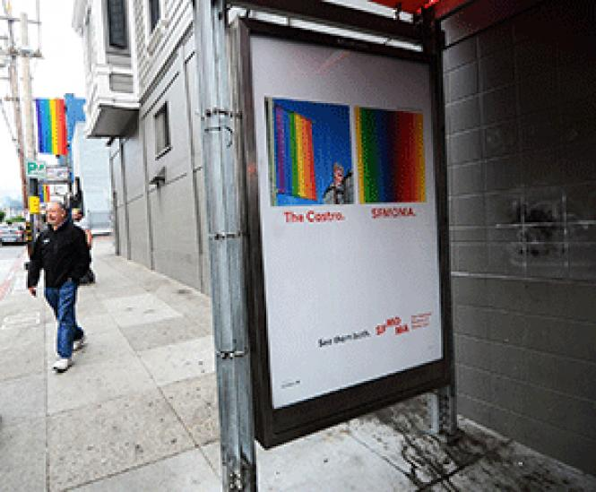 A San Francisco Museum of Modern Art bus shelter ad for<br>&quot;See Them Both&quot; is at 18th and Castro streets. Photo: Rick Gerharter