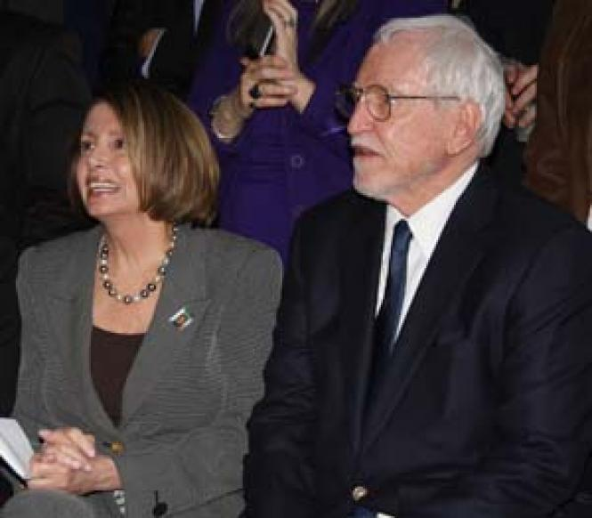Former Ambassador James C. Hormel, right, joins House<br>Speaker Nancy Pelosi and his partner, Michael Nguyen, left, at the Equality<br>California reception on the eve of Harvey Milk Day May 21. Photo: Bill Wilson