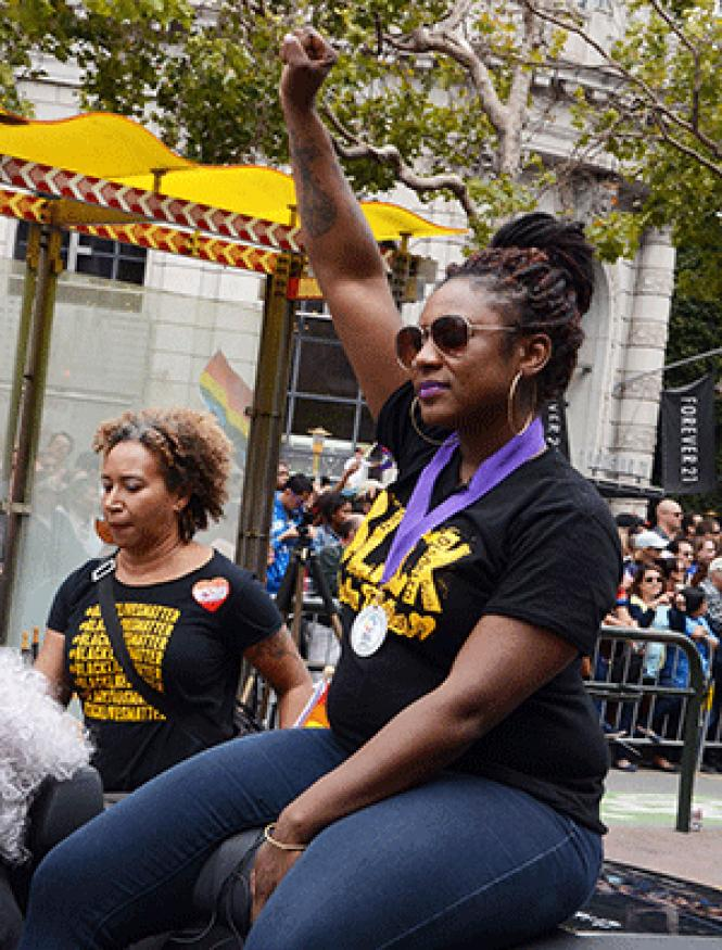 Alicia Garza, a co-founder of Black Lives Matter, was a community<br>grand marshal at last year&#039;s San Francisco Pride parade. Photo: Rick Gerharter