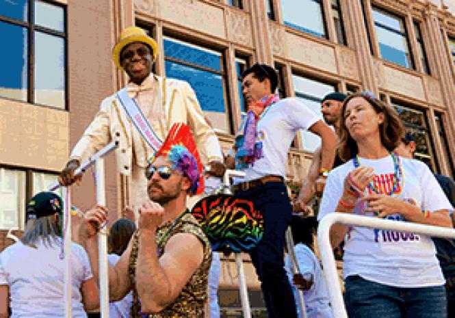 Grand marshal Michael Morgan, music director and conductor of the Oakland Symphony, rode in the Oakland Pride parade September 10