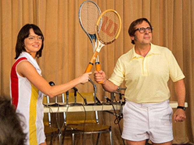 """Emma Stone as Billie Jean King and Steve Carell as Bobby Riggs in """"The Battle of the Sexes."""""""