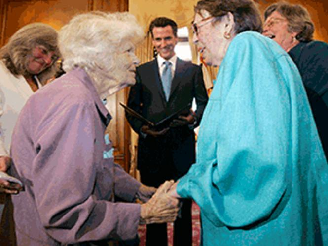 Del Martin, left, and Phyllis Lyon are married by San Francisco Mayor Gavin Newsom on June 16, 2008