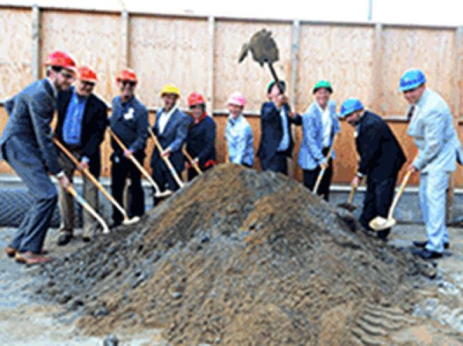 Representatives from Openhouse, Mercy Housing, Wells Fargo, local politicians, construction personnel, and others celebrate the groundbreaking of an LGBT-focused senior housing project at 95 Laguna Street