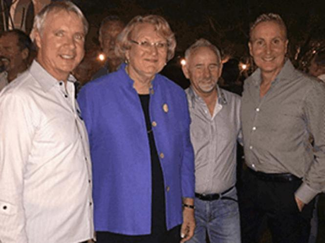 Lisa Middleton celebrated her election to the Palm Springs City Council with her campaign manager and school board member James Williamson, left, restaurateur Willie Rhine, and City Council member Geoff Kors, who is married to Williamson