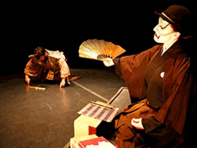 "Ebezo Sukurooji (Shannon Davis) chastises his clerk Kurando (Eric Rich) in Theatre of Yugen's ""A Noh Christmas Carol."""