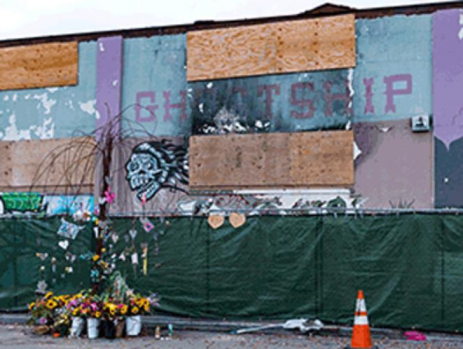 The site of the Ghost Ship warehouse as it looked November 25, nearly a year after a fire killed 36 people