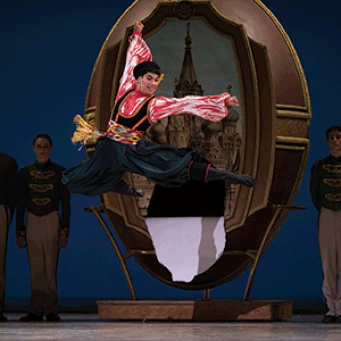 "San Francisco Ballet dancer Esteban Hernandez is the Russian who springs out of the Faberge egg in Helgi Tomasson's ""Nutcracker."""
