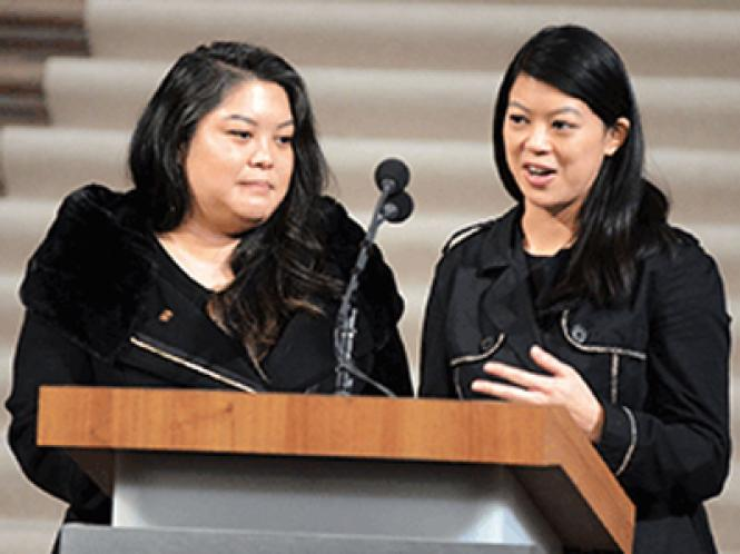 Mayor Ed Lee's daughters, Tania, left, and Brianna, remember their father during his celebration of life Sunday.