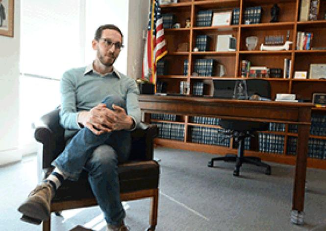 State Senator Scott Wiener sits in his San Francisco district office