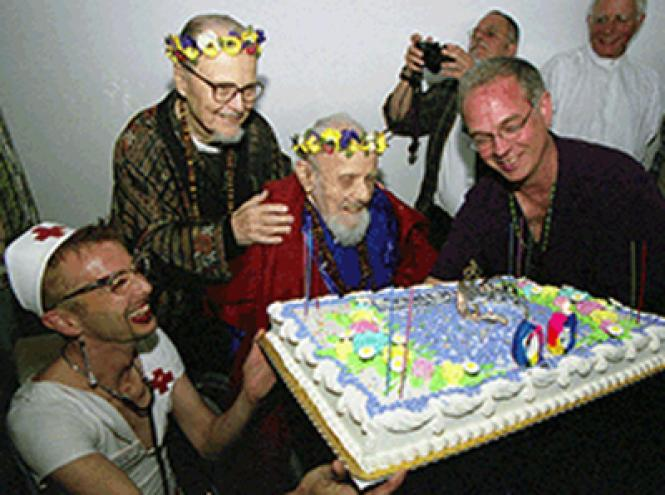 Harry Hay, center, celebrated his 90th birthday April 7, 2002 and was joined by Mark Garret, left; Hay's partner, the late John Burnside; and the late author Stuart Timmons.