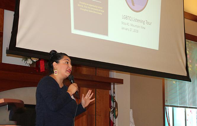 Maribel Martinez, director of the Santa Clara County Office of LGBTQ Affairs, speaks at the first LGBTQ listening tour in Mountain View. Photo: Heather Cassell