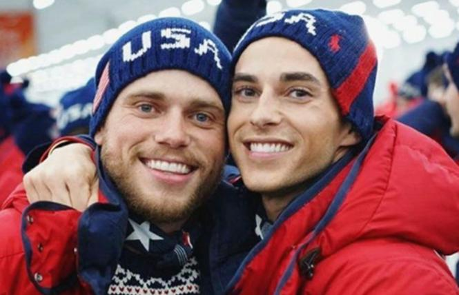 Gay Olympic athletes Gus Kenworthy, left, and Adam Rippon share a hug in PyeongChang. Photo: Instagram
