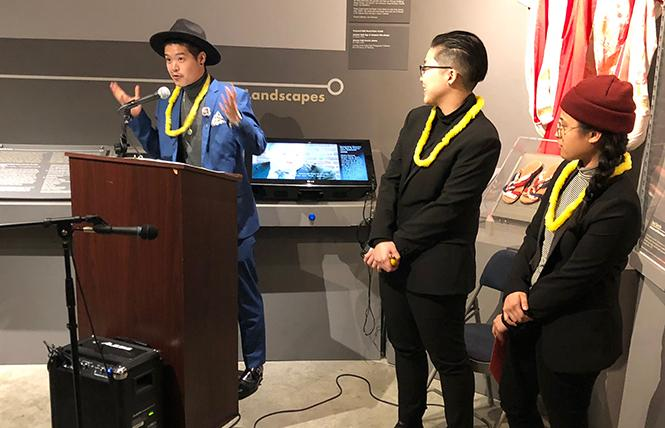 Eli Chi, left, of Hunnies & Hot Sauce, accepted a Red Envelope grant for his project and was joined by his colleagues Dree Lee and Srenilyn Lavarias during a reception February 11 at the GLBT History Museum. Photo: Alex Madison