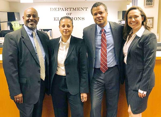Deputy Public Defenders Kwixuan Hart Maloof, left, Nicole Judith Solis, Phoenix Streets, and Maria Elena Evangelista are each challenging a sitting San Francisco Superior Court judge in June