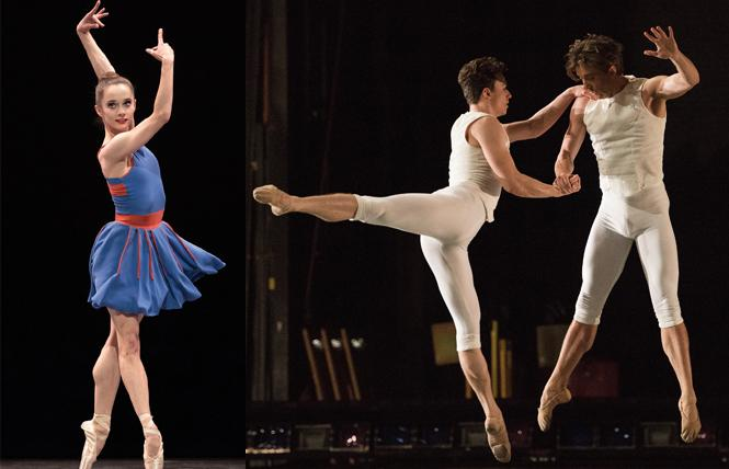 "LEFT: Maria Kochetkova in Benjamin Millepied's 'The Chairman Dances [Quartet for Two].'  RIGHT: Benjamin Freemantle and Ulrik Birkkjaer in Benjamin Millepied's ""The Chairman Dances [Quartet for Two]."" Photo: Erik Tomasson"