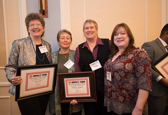 Impact Fund inductee Vicki Butler, left, and her spouse, Twyla Rowe, joined fellow inductee Kimberly Stoddard and her spouse, Margaret Allison, at last week's ceremony. Photo: Jane Philomen Cleland
