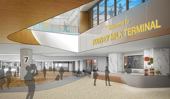 A rendering of what signage might look like at the new Terminal 1 at SFO
