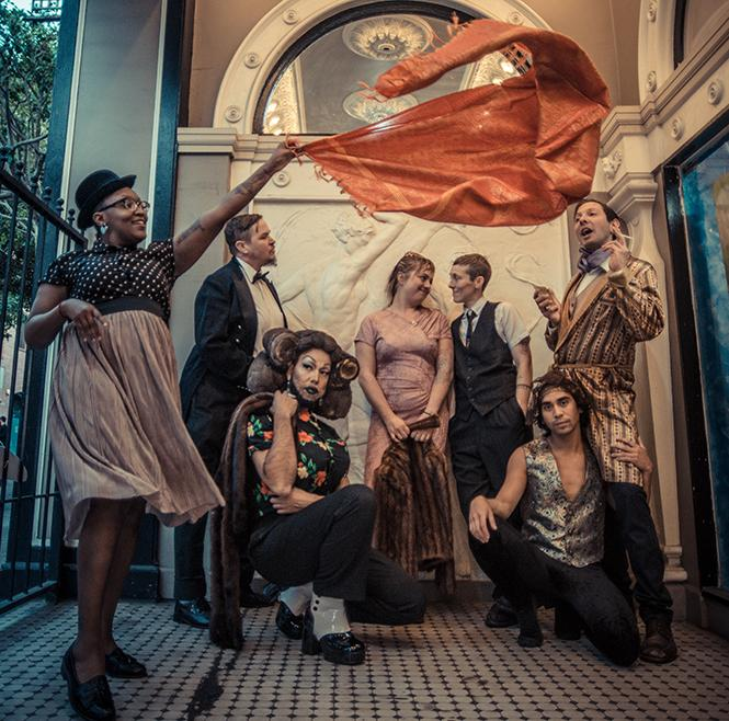 Out of Site performers include, clockwise from left, Lisa Evans, Sarah Paradise, Ariel Harris-Porada, Silky Shoemaker, Ryan Hayes, Earl Alfred Paus, and Diego Gomez. Photo: Robbie Sweeny
