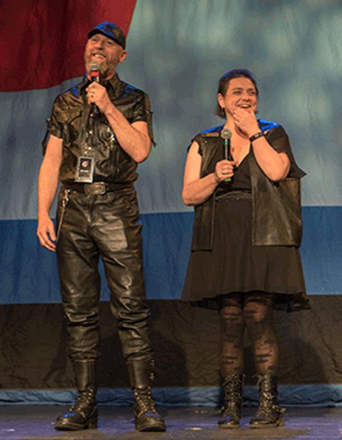 Dahn van Laarz (left), Vice President, and Angel Garfold (right), President, of the San Francisco Bay Area Leather Alliance