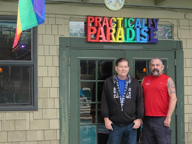 Jeff Bridges, left, general manager of the R3 Hotel in Guerneville, talked about the new Russian River Pride event with producer Rodger Jensen, who's also the event coordinator at R3. Photo: Charlie Wagner
