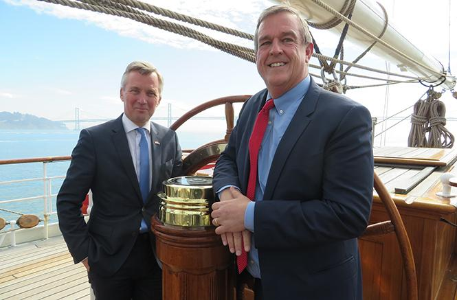 "Amsterdam deputy mayor Eric van der Burg, left, and San Francisco Supervisor Jeff Sheehy held a news conference aboard the historic tall ship Clipper ""Stad Amsterdam"" Monday to discuss HIV prevention efforts in both cities. Photo: Charlie Wagner"